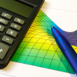Stock Photo: Pen and calculator