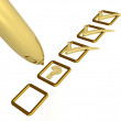 Gold pen with ticks and question mark on white background. — Stock Photo #1344326
