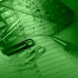 Pen, rulers and calculator (green) — Stock Photo