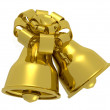 Two bells with gold bow - Stock Photo