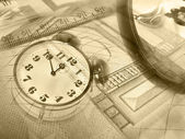 Graphic, magnifier, money and clock — Stock Photo