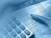 Table, pen, ruler and calculator — Stock Photo