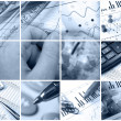 Business collage (blue) — Stock Photo