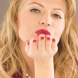 Royalty-Free Stock Photo: Beauty woman to throw a kiss