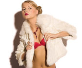 Beauty woman in fur — Stock Photo
