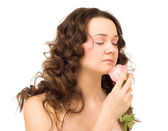 Beauty woman with rose — Stock Photo