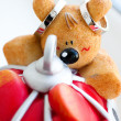 Stock Photo: Amusing toy with rings of newlyweds