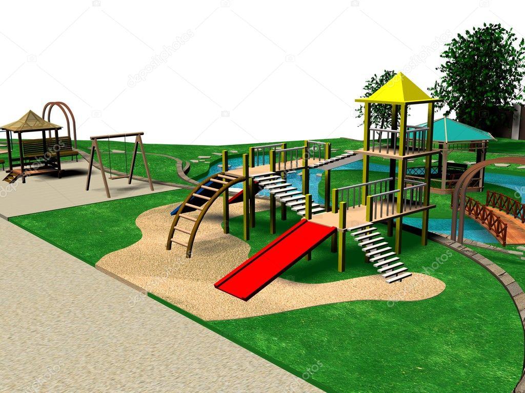 Детская площадка дизайн на 6 сотках