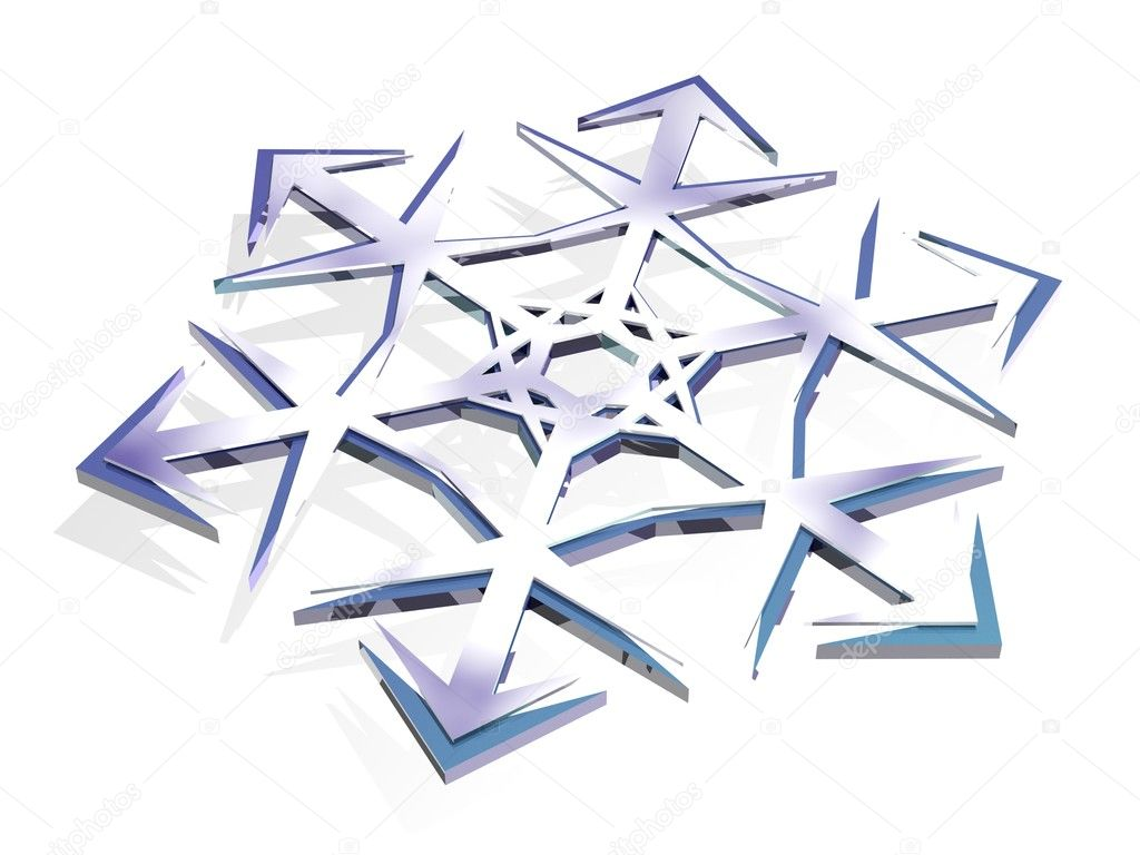 3d model of a snowflake blue — Stock Photo #1437758