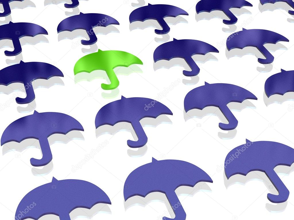 Abstraction of flat blue umbrellas and a green umbrella on a white background — Stock Photo #1574638