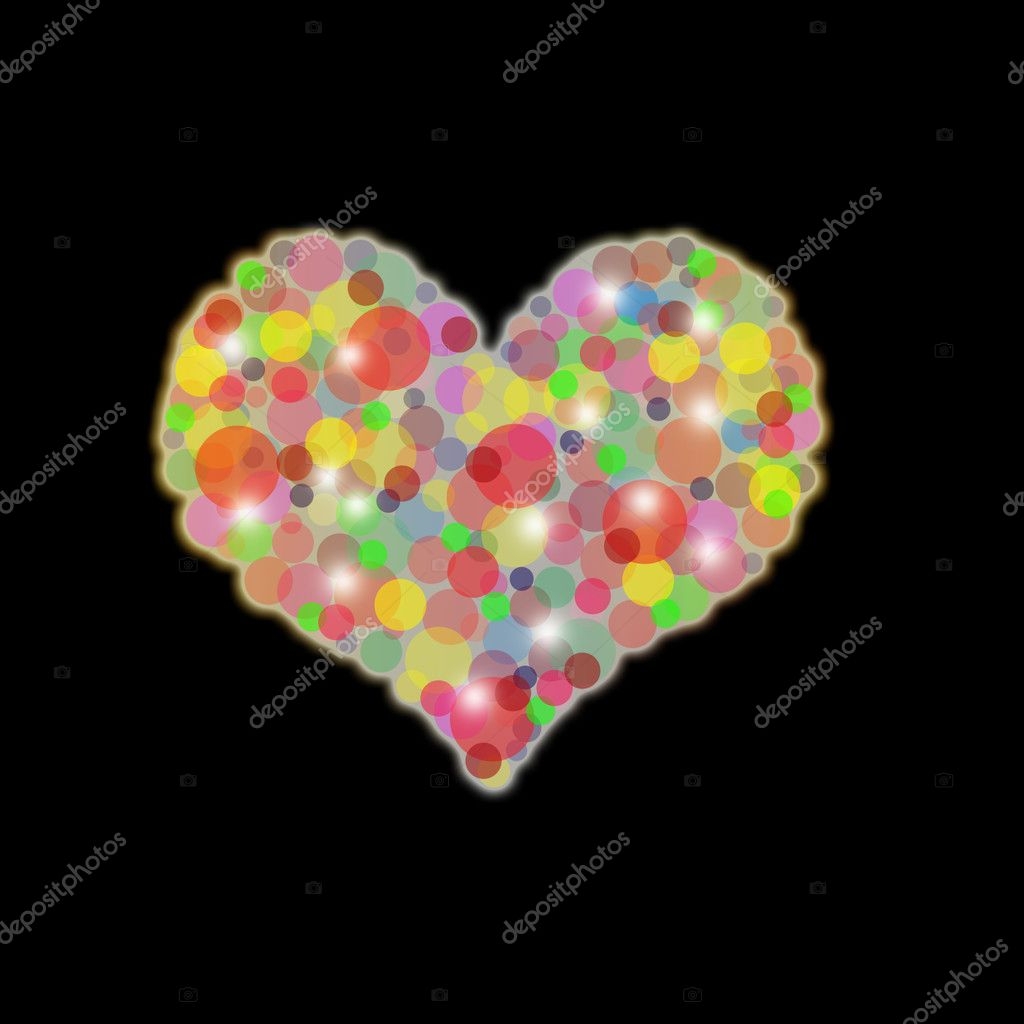 Abstract heart of multi-colored circles of different sizes on a black background  — Stock Photo #1594296
