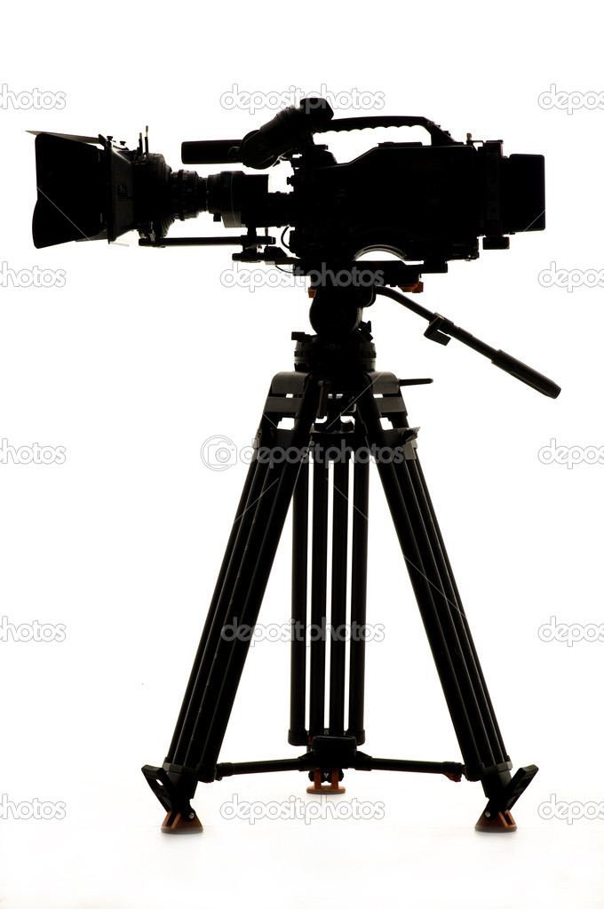 Silhouette of the camera and tripod. — Stock Photo ...