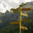 Signpost from metal. A rose of winds. — Stock Photo