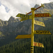 Signpost from metal. A rose of winds. - Stock Photo