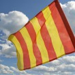 The orange striped flag is yellow. — Stock Photo
