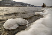 Northern, Siberian river in the winter. — Stock Photo