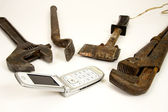 Tools and telephone. — Stock Photo