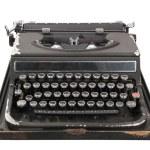 Antique typewriter front view — Stock Photo