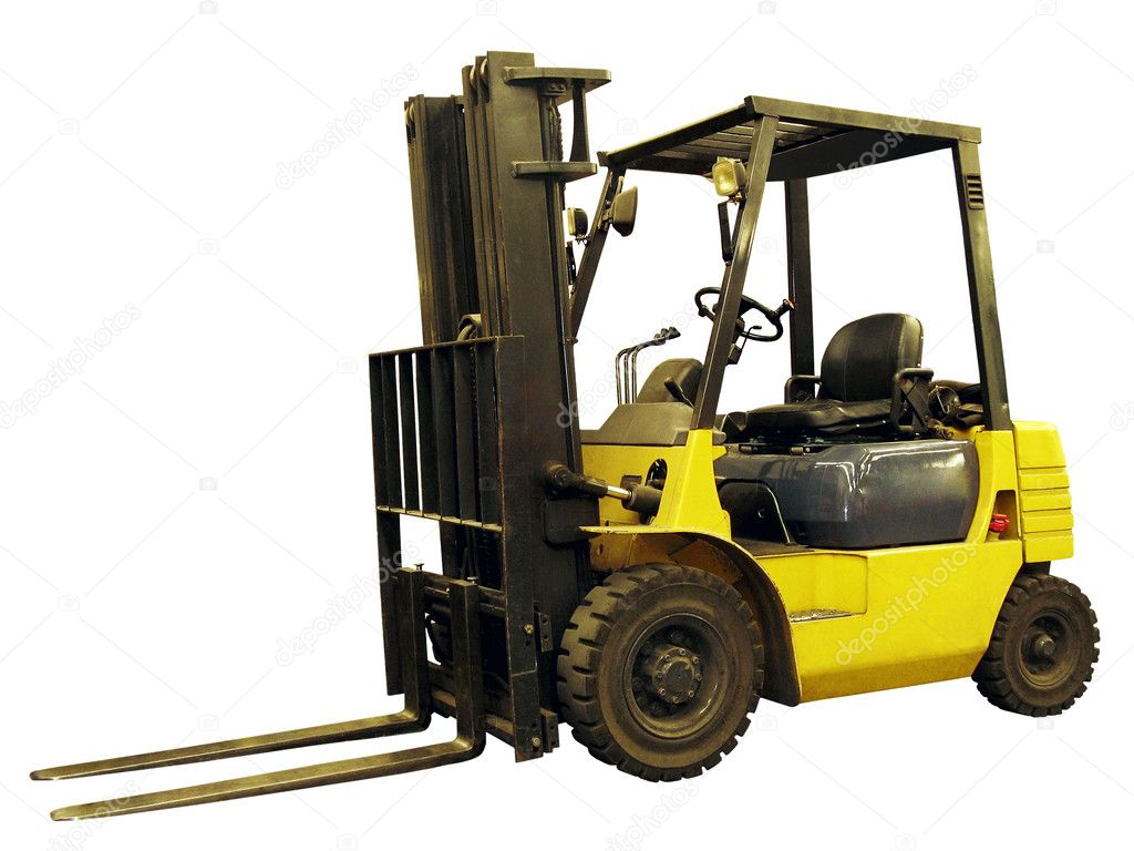 Yellow lift truck isolated on white background  Stock Photo #1272543