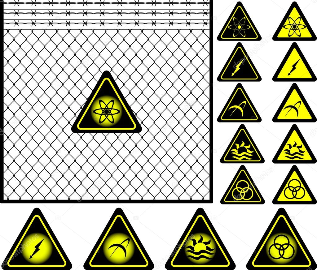 Wire mesh fence and warning signs — stock vector