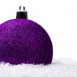 Christmas ball with snow — Stock Photo