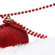 Red Christmas ball and decoration — Stock Photo #1305902