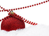 Red Christmas ball and decoration — Stock Photo