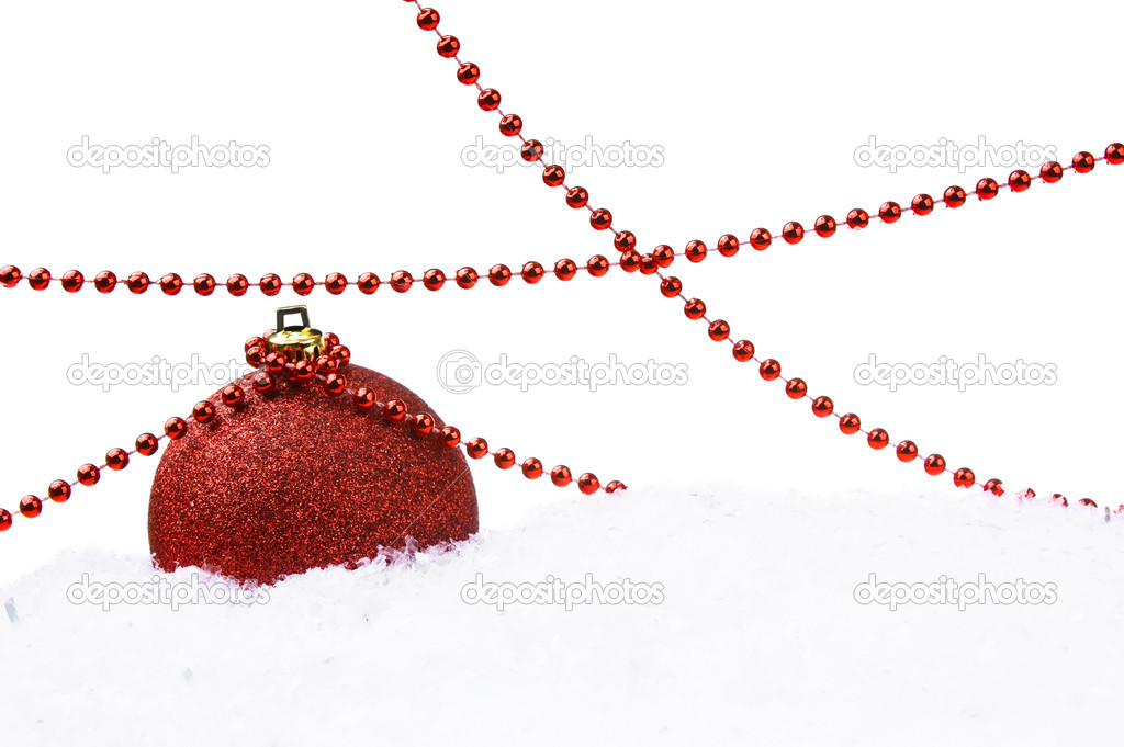 Red Christmas ball with snow and decoration isolated on white background — Stock Photo #1305914