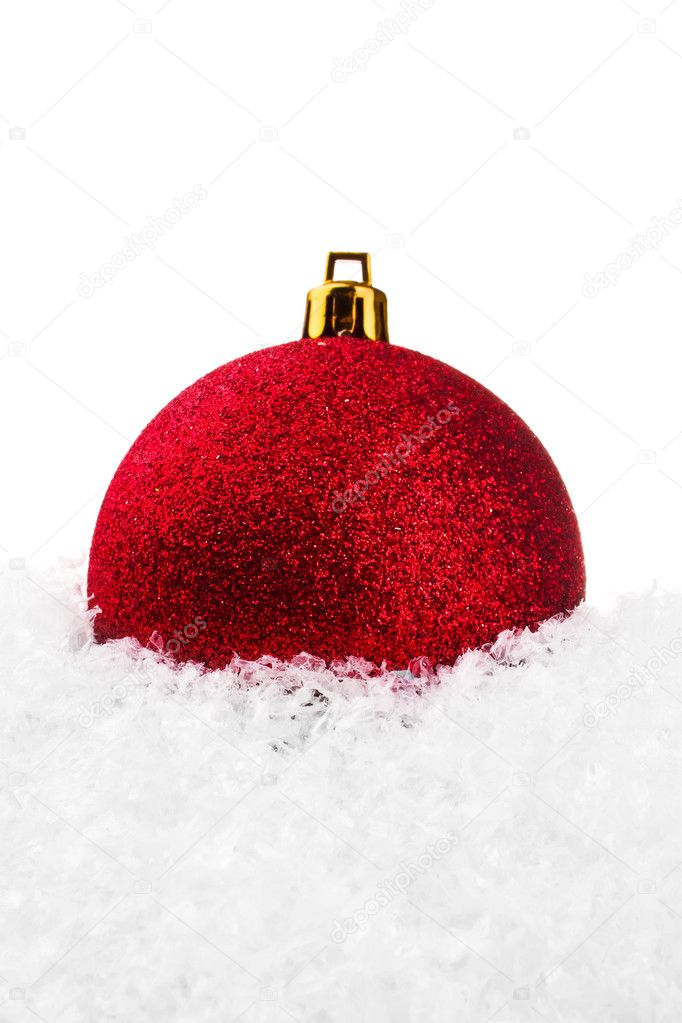 Red Christmas ball with snow isolated on white backgriund — Stock Photo #1306025