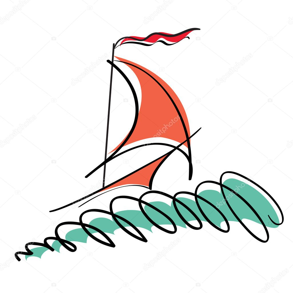 Illustration of the stylized yacht — Stock Vector #1279906