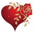 Heart and rose — Stock Vector #1335281