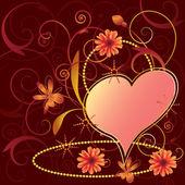 Alla hjärtans floral bakgrund — Stockvektor