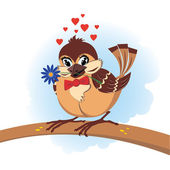 Sparrow in love — Stock Vector