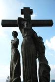 Cross in honour of the killed last emper — Stock Photo