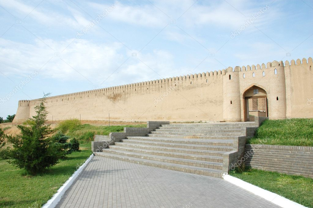 Fortification in Turkestan, southern Kazakhstan, The complex is constructed in 17-th century Muslim sacred Khoja Yassavi  Stock Photo #1340017