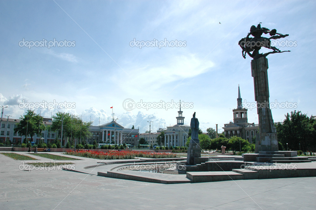The picture was taken at the central square of Bishkek, Kyrgyzstan — Stock Photo #2384992