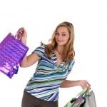 Woman with handbags — Stock Photo