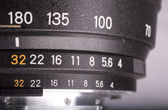 Aperture scale on lens — Stock Photo