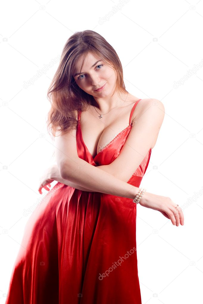 Portrait of the beautiful girl in a red dress — Stock Photo #1300450