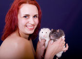 Girl with two rats — Stock Photo