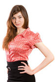 Girl in a red blouse — Stock Photo