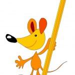 Мышь с карандашом — Cтоковый вектор