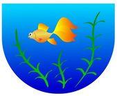 Aquarium with goldfish — Stock Vector
