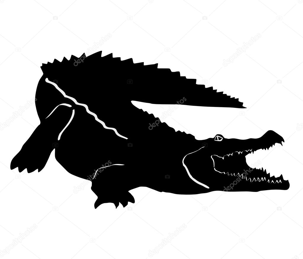 Displaying 19> Images For - Alligator Silhouette Vector...