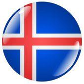 Button Iceland — Stock Vector