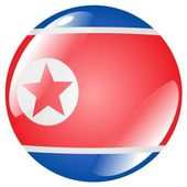 Button North Korea — Stock Vector