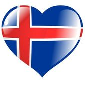 Iceland in heart — Stock Vector