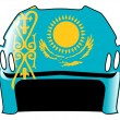 Hockey helmet in colors of Kazakhstan - Stock Vector