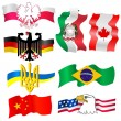 Stock Vector: Collection of symbols of countries