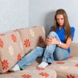 Beautiful girl on couch — Stock Photo #1289041